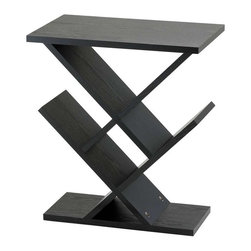 Adesso - Adesso Zig Zag Accent Table - MDF wood with black wood grain veneer. Storage/display areas are 8 in deep and may be used for CD�s, DVD�s or knick-knacks. 19 in Width, 12 in Depth, 21.5 in Height.