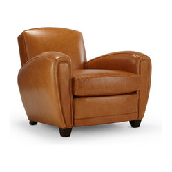 Mitchell Gold + Bob Williams - Will's Chair - Add comfortable and stylish seating to your living room or office with this classic, curved silhouette club chair. Rich golden leather is expertly upholstered to create the ideal place to sit back and relax. Don't forget your favorite beverage and a good book — you won't want to get up from this cozy spot for a while.