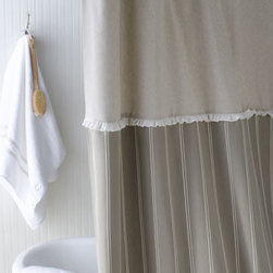 "French Laundry Home - French Laundry Home ""French Stripe"" Shower Curtain - Three-part stripe shower curtain combines stripe fabric and a natural color top band with a mini ruffle separating the two sections. By French Laundry Home. Made of linen and cotton. Dry clean. 72""Sq. Made in the USA."