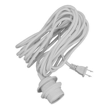 VITA - Vita Swag Kit Cord Set E26-60W 20 Feet White Textile Cord - E26 All Thread Lampholder + 20 Feet Ofsvt 2*0.