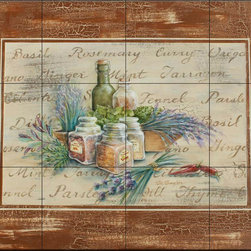 The Tile Mural Store (USA) - Tile Mural - Spicy With Border - Rb - Kitchen Backsplash Ideas - This beautiful artwork by Rita Broughton has been digitally reproduced for tiles and depicts spice jars and herb sprigs  Our kitchen tile murals are perfect to use as part of your kitchen backsplash tile project. Add interest to your kitchen backsplash wall with a decorative tile mural. If you are remodeling your kitchen or building a new home, install a tile mural above your stove top or install a tile mural above your sink. Adding a decorative tile mural to your backsplash is a wonderful idea and will liven up the space behind your cooktop or sink.