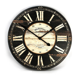 Kathy Kuo Home - Hotel Westminster Rustic Cottage Black White Large Wall Clock - Evoke a sense of the old world with this wooden wall clock.  Painted-black and intentionally-distressed, this clock features an aged white center and matching Roman numerals with black military time indicators in Arabic numerals.  Iron hands contribute to the entire design, which is completed by a screen printed ���Hotel Westminster� motif.  Perfect for the rustic interior or country home, this battery-operated clock will keep today's time without detracting from old-style d̩cor.