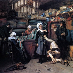 """Henry Mosler Buying the Wedding Trousseau - 18"""" x 24"""" Premium Archival Print - 18"""" x 24"""" Henry Mosler Buying the Wedding Trousseau premium archival print reproduced to meet museum quality standards. Our museum quality archival prints are produced using high-precision print technology for a more accurate reproduction printed on high quality, heavyweight matte presentation paper with fade-resistant, archival inks. Our progressive business model allows us to offer works of art to you at the best wholesale pricing, significantly less than art gallery prices, affordable to all. This line of artwork is produced with extra white border space (if you choose to have it framed, for your framer to work with to frame properly or utilize a larger mat and/or frame).  We present a comprehensive collection of exceptional art reproductions byHenry Mosler."""