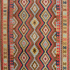 """ALRUG - Handmade Multi-colored Oriental Kilim  6' 7"""" x 10' (ft) - This Afghan Kilim design rug is hand-knotted with Wool on Cotton."""