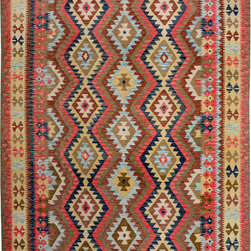 "ALRUG - Handmade Multi-colored Oriental Kilim  6' 7"" x 10' (ft) - This Afghan Kilim design rug is hand-knotted with Wool on Cotton."