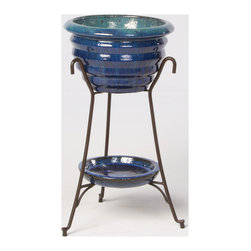 Alfresco Home - Alfresco Home Vilano Elevated Planter & Beverage Cooler - Combining classical style and affordable pricing Alfresco home and patio is a dealer and importer of furnishings décor and accessories. With a focus on European designs Alfresco offers a wide variety of styles with an emphasis on cast aluminum pieces.  Alfresco Home offers a full line of dining and deep-seating pieces as well as indoor accent furniture and garden accent furniture. Alfresco has a variety of casual style aluminum wrought iron and wicker sets. Features include Use as a beverage cooler or a garden planter Kiln fired earthenware vessles Hand-made by skilled artisans Variations in color texture and form are not considered defects but rather one of a kind features Complete with a drainage plug and wine cork. Specifications Includes: Glazed Ceramic Bowl & Iron Stand Finish: Falling Blue/Green Material: Ceramic.