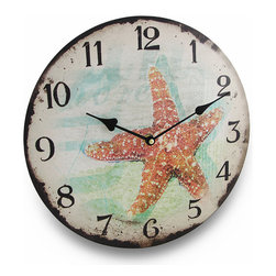 Weathered Look Starfish Round Nautical Wall Clock 13 in. - If the sea-life is the life for you, then this starfish wall clock will be a 'shore' thing in your home, on your sun-room wall or at the office! This beautiful sea creature will add a touch of nautical flair to your walls with a printed on canvas image a coral colored starfish, washed hues of blue and beige and its weathered appearance. The face features big, easy to read numbers and visible hands to easily read the time, is made of pressed wood and is 13 inches (33 cm) in diameter. It boasts a quartz movement that requires just one AA battery to operate (not included). This sea star wall clock would make a wonderful gift for any beach comber or nautical decor fan!