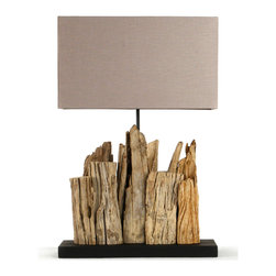 Kathy Kuo Home - Vertico Riverine Root Modern Rustic Burlap Shade Table Lamp - Earthy and raw, the Vertico Table Lamp resembles a series of jagged rocks or the silhouette of a crumbling cityscape.  Organic visual appeal is at the center of its sculptural design, with an arrangement of natural reclaimed driftwood leading the eye to its contrastingly refined taupe linen shade.  Perfectly scaled for console tables, lamp tables and mantels, it will serve as an eye-catching lighting option in beach homes, it will add a hint of nature to the city-dwellers dwelling and is sure to find its place in a range of other contemporary settings.