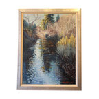 """""""Russian River"""" Framed Oil Painting - A Northern California gem, the Russian River is a wildlife and recreational hotspot. The natural beauty of the river is on display in this original, framed impressionist oil painting by Richard Wheeler, signed and dated by the artist. The gilded wood framed canvas painting captures the rustic and romantic nature of the Bay Area river."""