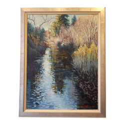 """Russian River"" Framed Oil Painting - A Northern California gem, the Russian River is a wildlife and recreational hotspot. The natural beauty of the river is on display in this original, framed impressionist oil painting by Richard Wheeler, signed and dated by the artist. The gilded wood framed canvas painting captures the rustic and romantic nature of the Bay Area river."