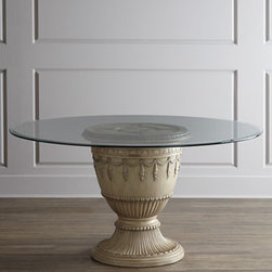 """Horchow - Castalia Dining Table - Family and friends may linger longer around the dining table with this single-pedestal beauty as your focal point. It brings a fresh, new interpretation to the luxury of Old World styling. Made of resin and glass. Hand-painted finish. 60""""Dia. x 30""""T...."""