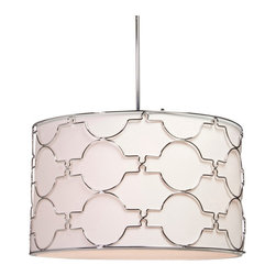 Artcraft Lighting - Artcraft Lighting SC645 Chrome Chandelier from the Morocco Collection - The 5 light Morocco circular fixture is comprised of elegant chrome metalwork accompanied by a white linen shade with a bottom glass diffuser.  Features: