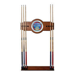 Trademark Global - Wood Wall Billiard Cue Rack w U.S. Coast Guar - Cue sticks not included. 8 Cue capacity. Furniture grade look. 2 pc. Medium oak veneered wood cue rack. 10 in. Dia. full color logo mirror. 30 in. L x 13 in. W x 4 in. H (16 lbs.)This U.S. Coast Guard Wood/Mirror Wall Cue Rack will fit in the decor of your billiard room.