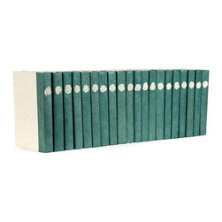 Sage Spine Book with White Wax Seal - Gorgeous repurposed books make a bare shelf pop with intrigue and lovlieness - the Sage Spine Book features an old world like wax seal and is a gorgeous addition to a home office or lavishly decorated living area.