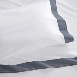 """Miri Blue Extra-Long Twin Sheet Set - Pigment-dyed blue trim bands crisp, white bedding in rich color, playfully accented with five rows of contrast stitching. Versatile look in soft, cotton percale mixes and matches for a varied, layered bed. Generous 16 """" pockets (14"""" for twin) accommodate most mattresses. Bed pillows also available."""