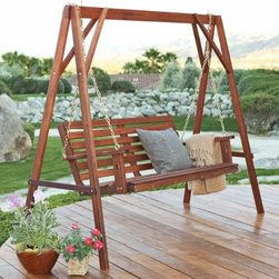 Bay Ridge Porch Swing & Stand Set - There's nothing better than a classic freestanding wooden swing.