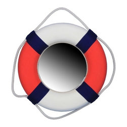 "Handcrafted Model Ships - Decorative Patriotic Lifering Mirror 15"" - Life Preserver - This Decorative American Lifering Mirror 15"" will compliment any beach living room perfectly. Combining patriotic colors of red, white and blue, this hand-stitched nautical lifering holds a mirror in the center which will assist you in lighting up your beach home, beach wedding decorations or beach themed party. Our Life ring decor actions are the perfect choice for any beach setting. We offer over 100 unique decorative life rings sized and priced for everyone's beach wall decor needs. Life ring decor is available in various sizes and styles such as lifering clocks, lifering mirrors, antique life preserver rings and of course the classic traditional decorative life rings, ranging in sizes from 6 to 30 inches."