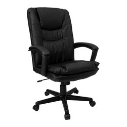 Flash Furniture - Executive High Back Swivel Chair in Leather U - Project a professional image with this classic executive chair. It falls between contemporary and traditional with its square styling and spacious seat. Black leather upholstery, padded armrests and a matching base give it an all-business look for any work area. Super value chair high back executive swivel. Black leather. Lumbar support. Pneumatic gas lift. Padded leather arm rests. Extra layer of padding for additional comfort. Locking tilt control. Tilt tension control. Black plastic base. Dual wheel carpet casters. Pictured in Black. Seat: 19�_ in. W x 20 in. D. Back: 20 in. W x 25 in. H. Seat Height: 20 in. - 23�_ in. H. Arm Height: 7�_ in. H (from Seat); 26�_ in. - 30�_ in. H (from Floor). Overall: 24�_ in. W x 23 in. D x 41�_ in. - 45�_ in. H