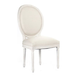 """Zentique - Zentique Furniture Medallion Antique White Side Chair - Fusing classic European motifs with rustic charm, Zentique's home decor and furnishing collection defines understated elegance. This Louis XVI-style Medallion side chair lends living rooms and dining rooms vintage-inspired design. Featuring a round back and stately, carved wood frame, the traditional seat is completed with an antique white finish and off-white linen upholstery. Made from oak. 21""""W x 21""""D x 40""""H."""