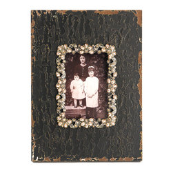 Zentique - Sabina Photo Frame - The Sabina Photo Frame is a textured wooden photo frame in an antique black finish with a flower jeweled border around the window mat.