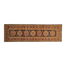 1800-Get-A-Rug - Runner Tribal Design 100% Wool Kazakh Hand Knotted Oriental Rug Sh18397 - Our tribal & geometric hand knotted rug collection, consists of classic rugs woven with geometric patterns based on traditional tribal motifs. You will find Kazak rugs and flat-woven Kilims with centuries-old classic Turkish, Persian, Caucasian and Armenian patterns. The collection also includes the antique, finely-woven Serapi Heriz, the Mamluk Afghan, and the traditional village Persian rug.