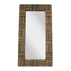 "Padma's Plantation - Loft Mirror by Padma's Plantation - The Loft Mirror marries modular architectural designs with a practical sensibility. Made out of abaca twist, looks great above a sofa or in a hallway setting. Can be hung singularly or for a bolder look, try hanging in multiples. (PP) 24"" Wide x 2"" Deep x 45"" High"