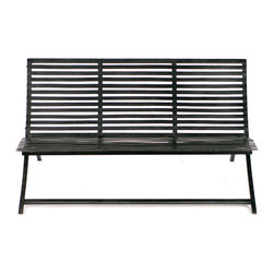 Central Park Slat Bench - Benchwarmers rejoice! This is the one time you won't mind sitting out. Made of steel with a cool, modern design, this bench looks fabulous in an atrium, patio or office.