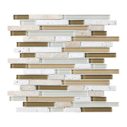 """Rocky Point Tile - Bliss Bamboo Random Strip Mosaic Tiles, Mixed, 4"""" x 6"""" Sample - Get in touch with your inner tree hugger. Brown, white and cream blend together to create a warm mosaic of hand-painted glass and natural travertine. The organic materials and neutral colors complement a kitchen  butcher block or stone countertop to perfection."""