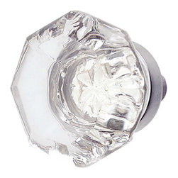 Renovators Supply - Cabinet Knobs Crystal Cabinet Knob 1'' Dia W/ Chrome back - Crystal Cabinet Knob. This octagonal knob includes a chrome backplate. It has a 7/8 in. projection.