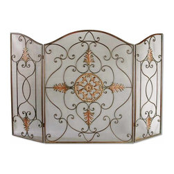 Uttermost - Egan Wrought Iron Fireplace Screen - Even without a fire burning, this handsome screen is a wonderfully decorative accessory to your space. Light the fire and it becomes as functional as it is beautiful. The dark brown base coat has a dark gray wash and the tan gold glaze picks out the intricate details.