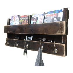 (del)Hutson Designs - Dark walnut distressed pallet coat rack - This item is salvaged from %100 reclaimed wood. Anything can be reusable and functional with the right kind of hands or creative eye, behind the making!