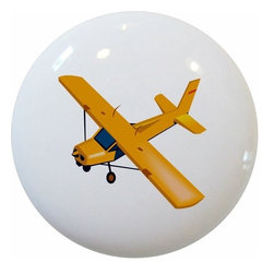 Carolina Hardware and Decor, LLC - Yellow Airplane Ceramic Cabinet Drawer Knob - New 1 1/2 inch ceramic cabinet, drawer, or furniture knob with mounting hardware included. Also works great in a bathroom or on bi-fold closet doors (may require longer screws). Item can be wiped clean with a soft damp cloth. Great addition and nice finishing touch to any room!
