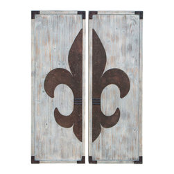 Benzara - Fleur-de-Lis Themed Wall Plaque Decor Set - The fleur-de-lis is a symbol rich with European history, meaning  in. flower of a lily in. . What had started out as an artistic decoration in medieval Europe has grown to become political emblems and symbols of royalty. This all wood wall plaque set is perfect to place on a grand living room wall, or at the end of a long hallway.