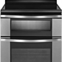 Whirlpool - WGE555S0BS 6.7 Total cu. ft. Double Oven Electric Range With AccuBake System  Ra - The WGE555S comes with rapid preheat that uses all of the elements to heat the oven quickly ThePrecise Clean Self-Cleaning System tracks the time between self-clean cycle in order toensure the self-clean cycle lasts as long as necessary