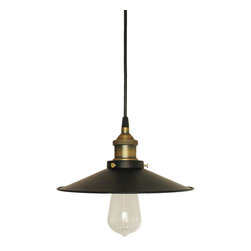 ParrotUncle - Retro Industrial Pendant Light with Matte Black Shade, Medium Size - Present to you some retro industrial style to your city life with this elegant pendant light. It is impressive for its holder in brass color and shade in matte black, both of which are in their shiny finish. When it's on, you can fell its low-tune beauty it's talking about. Wise selection for industrial style fans. You can make your choice from the 3 sizes available.