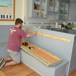 Banquettes - Installation of new upholstery for a built-in banquette for a second home in Avalon, NJ.