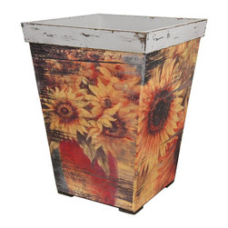Oriental Furniture - Rustic Sunflowers Planter - Large rustic wooden planter. Constructed with mitered wood frame with short block feet and wider collar. Tapered sides feature highly distressed decoupaged images of sunflowers in a warm and gentle color palette. Top edge and interior are finished in an antiqued grey. Can function as a rustic planter, cane stand, or vintage waste basket for the home or office.