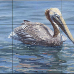The Tile Mural Store (USA) - Tile Mural - Easy Morning - Lb - Kitchen Backsplash Ideas - This beautiful artwork by Lucie Bilodeau has been digitally reproduced for tiles and depicts a lone pelican in the sea  Images of waterfowl on tiles are great to use as a part of your kitchen backsplash tile project or your tub and shower surround bathroom tile project. Pictures of egrets on tile, images of herons on tile and decorative tiles with ducks and geese make a great kitchen backsplash idea and are excellent to use in the bathroom too for your shower tile project. Consider a tile mural of water fowl for any room in your home where you want to add interesting wall tile.