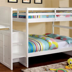 White Twin Bunk Bed with Steps - The West Lake arch white bunk bed with steps is a great choice for your girls bedroom. The sturdy steps and safety guardrails will keep your child safe and sound. A four drawer chest is located under the bed stairs to provide extra storage options while saving space.