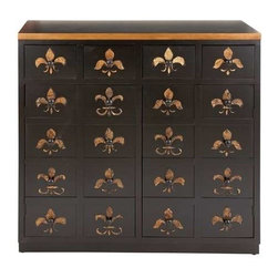 """Benzara - Dresser in Brown Lacquer and Fleur De Lis Imprints - Dresser in Brown Lacquer and Fleur De Lis Imprints. Lend a hint of subtle beauty and charm to your personal space with this wood dresser. It comes with a following dimensions 37""""W x 14""""D x 37""""H."""