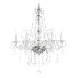 """The Gallery - New! Crystal Chandelier Murano Chandeliers Lighting Venetian Style 23"""" x 25"""" - THIS MAGNIFICENT CHANDELIER IS DRESSED WITH 100% CRYSTAL. Nothing is quite as elegant as the fine crystal chandeliers that gave sparkle to brilliant evenings at palaces and manor houses across Europe. This beautiful chandelier is decorated with 100% crystal that capture and reflect the light of the candle bulbs, each resting in a scalloped bobache. The crystal glass arms of this wonderful chandelier give it a look of timeless elegance that is sure to lend a special atmosphere in any home.  Specifications:      Size:W23"""" H25""""     Finish:Silver Finish     Lights:6 Lights"""