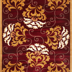 "Kas - Damask Red Beige Corinthian Floral 3'3"" x 4'11"" Kas Rug  by RugLots - Our Corinthian series is machine-woven in China of 100% heat-set polypropylene and hand-carved with specific attention to detail. This line features classic Aubusson floral patterns, a look usually found only in traditional hand-knotted collections. This timeless classic has been designed with today"