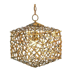 Kathy Kuo Home - Mid Century Modern Gold Leaf Art Metal Abstract Cube Pendant - Mid century modern gold metal art lighting always adds a touch of intellectual glamor to any space.  This open, wide gauge frame of metal strips, artfully welded into a cube, is testament to the metalwork and vision which makes chic retro lighting so perennially stylish.
