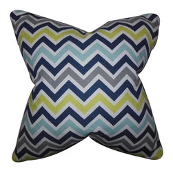 "The Pillow Collection - Howel Zigzag Pillow Blue 18"" x 18"" - Cool and fun, this chevron throw pillow adds the perfect touch to your home. This accent pillow lends a striking detail to your sofa, bed or seat. Use it to bring a contemporary touch to your living room or bedroom. Pair this with bright colors and other patterns. Made of 100% soft cotton fabric. Crafted in the USA."
