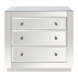 "Worlds Away - Worlds Away Alicia 3 Drawer Mirrored Chest - The Worlds Away Alicia mirrored chest captivates with shimmering elegance. Refined with beveled edges, the storage furnishing's glass surfaces radiate statement-making glamour. 32""W x 20""D x 30""H; Three drawers on glides; Clear glass knob hardware"