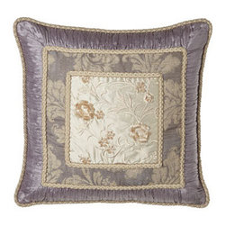 """Dian Austin Couture Home - Dian Austin Couture Home Pillow with Embroidered Silk Center, 22""""Sq. - Named for their wisteria-inspired lavender palette, bed linens by Dian Austin Couture Home® feature scrolling acanthus leaves and an abundance of ruching. Made in the USA of silk dupioni and Italian-woven viscose/polyester/linen/silk. Dry clean. D..."""