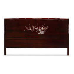 China Furniture and Arts - Rosewood Cal. King Size Mother of Pearl Inlay Headboard - Sturdy and durable, our king-size headboard is built in that tradition. Beautiful details in its design, with mother-of-pearl inlaid birds and flowers motif. Hand-applied dark cherry wood stain enhances the beauty of the inlays.