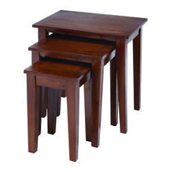 Benzara - Nested Wooden Table in Glossy Chocolate Brown Finish - Set of 3 - A great addition to your conventional furniture is this set of three Wooden Nested Tables, made from the best quality wood. Arranged in an ascending manner, this table set is coated with a rich chocolate brown shade that looks exquisite under dim lighting. Adding grandeur and opulence to the decor are its square hooves which not only look good but add exceptional strength to the table set. Simple but stylish, these gorgeous tables can be used to support tiny figurines or display articles, or as coffee and snack tables during social gatherings. Exceptionally sturdy and durable, these tables ensure many long years of good use. It is available in 3 size variants - 18 in.  H x 11 in.  W x 11 in.  D, 21 in.  H x 16 in.  W x 13 in.  D, 24 in.  H x 22 in.  W x 16 in.  D.