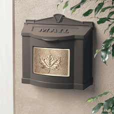 Traditional Mailboxes Gaines Bronze Wall Mailbox With Polished Brass Leaf Emblem