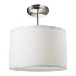 Joshua Marshal - One Light Brushed Nickel White Linen Shade Drum Shade Semi-Flush Mount - Finish: Brushed Nickel